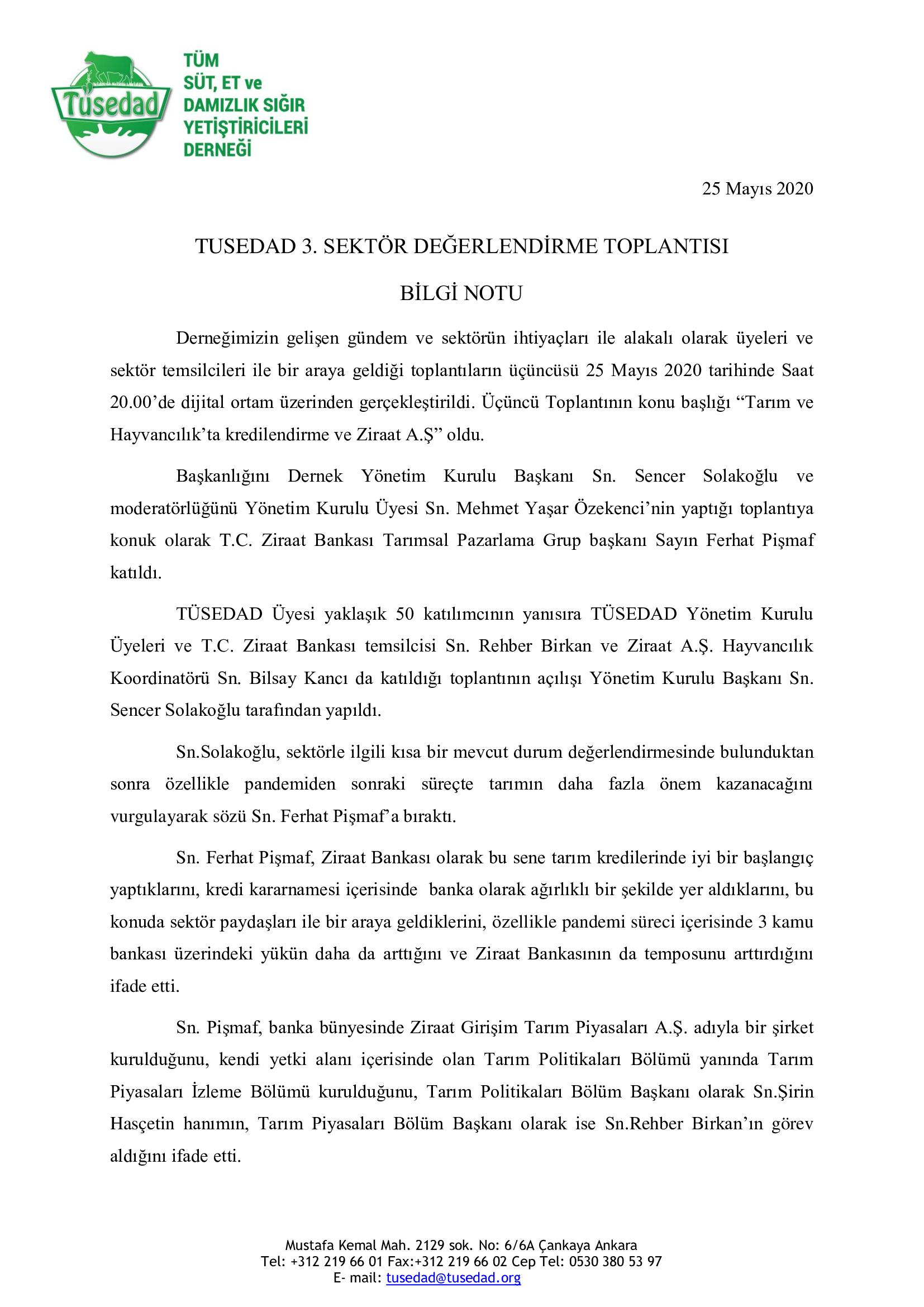 TÜSEDAD 3. Sektör Değerlendirme Toplantısı – 25 Mayıs 2020