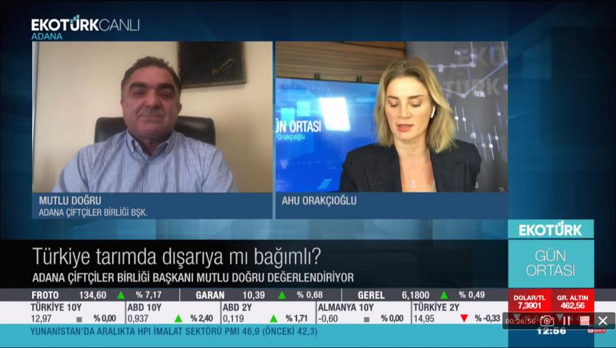 TÜSEDAD ÜYESİ MUTLU DOĞRU TARIM SEKTÖRÜ HAKKINDA DEĞERLENDİRMELERİ-EKOTÜRK TV/GÜN ORTASI 05.01.2021